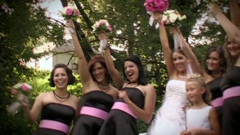Focal Point Video happy bridesmaids and bouquet from Abernethy Center wedding film